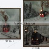 2016 wooded frame canvas prints snow country train canvas painting