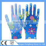 Seamless Knitted Polyester Printing Gardening PU Glove For Lady