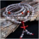 Natural Grey Agate Crystal Quartz Gemstone Beads Buddhist Prayer Mala Chinese Knot Necklace Bracelet