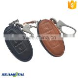 Car Genuine Leather Key Cover Case 3 button For Nissan Teana Altima Tiida X-trail Rogue Qashqai Bluebird Sentra Sylphy NV200