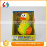 Funny battery operated plastic yellow rocking duck toy light with music
