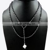 Simple !! Black Onyx 925 Sterling Silver Beads Necklace, Fine Silver Jewelry, 925 Sterling Silver Jewelry