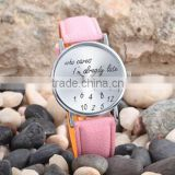 New Fashion Casual Brand Leather Strap Wristwatch Simple Style i am already late Quartz Watch Women