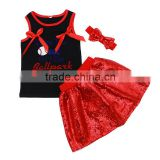 Wholesale black tank top and red sequin skirt with matching headband baseball girl sport wear