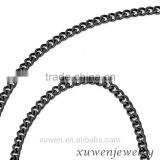3.5mm IP black mens chunky curb link 316l stainless steel jewelry foot chain