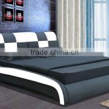 modern italian bedroom furniture set king size sheets wave cheap black/white soft synthetic/pu/genuine leather bed luxury