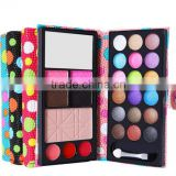 OEM ODM wallet style 18colors palette glitter makeup eyeshadow powder with brush blusher