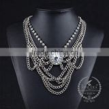 high quality vintage style rhinestone chunky statement necklace tin alloy fashion women pendant necklace 6390121