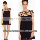 2014 fashion ladies cut out shoulder top part ladies dress for evening daily wear oem manufacture in china