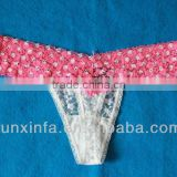 Sexy Women's pink white lace T-back panty
