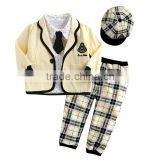 2016 Hot Sale Boy Clothing Sets Yellow Coats School Style Boys Suits With Grid Cap And Pants Children Wear Kids Clothes