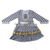 2017 wholesale children's boutique dress grey color stripe frock design for baby girl