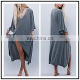 Cotton Dolman Sleeve Loose Fit Slit Kaftan Casual Long Dresses Beach NT6714