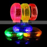 Led bracelet sound activated or button activated flashing light custom logo concert led bracelet