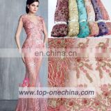 Textile China supplier fabric wedding african embroidery lace fabric handwork french lace fabric