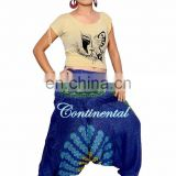 Women's Indian Boho Alibaba Hippie Pants Blue Mandala Harem Romper Pant One Size Loose Gypsy Hippie Baggy Pants Afghani Unisex