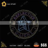 Reflective stars custom iron on rhinestone appliques for T-shirts