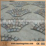Hand Cut Edge Stone on Mesh, Mesh Stone Slate Paving, Multicolor Slate Paving Stone, China Multicolor Slate Cube Stone & Pavers