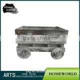 Novelty Car Shape Distressed Small Wine Bottle Wooden Crate Box with Wheels