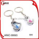 wholesale jewelry heart desgin for couple promotional metal keychain