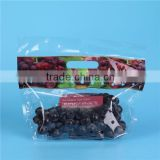 Transpaprent or Colorful Printing with holes Lamination Material Handle Zipper Lock Fuit Bags with Bottom Gusset