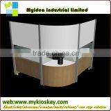 New design 12*8feet wood glass cell phone accessories kiosk with LED lights cell phone display table