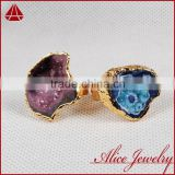Fashion Vintage Antique Ajustable Golden Plated Druzy Geode Agate Statement Wide Ring