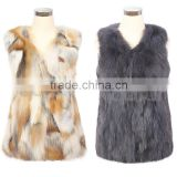QD30404 Adult Sex Clothes Brand Name Body Warmer Real Fox Fur Vest 2014