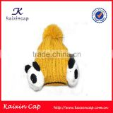 high quality 3D panda decoration 100% Acrylic popular fashion winter knitted beanie cap with pom pom