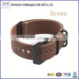 cowhide genuine leather watch strap with black stainless steel buckle brown