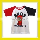 2016 Fashion Products Bros Devil Baby Rinne Girl Cotton Printed Black Red Short Sleeve White T-Shirt