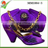 MM1004-3 eautiful African shoes and bag with rhinestones,Italian ladies shoes and matching bag set