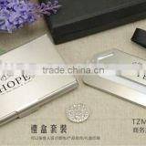 Brushed stainless steel business card holder and luggage tag gift box packing/wedding gift sets