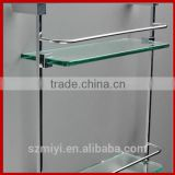 wall-mounted high quality bathroom shelf double tier glass bath shelve shampoo holder