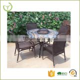 HL-5S-16008 round fire pit & BBQ Table set with slate top bowl cover mosaic table with four rattan arm chair                                                                                                         Supplier's Choice