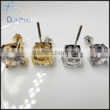 Yellow Gold 10K 4mm Round White CZ Earring Studs Men Women Children Screw Back