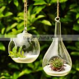 Clear hanging glass flower ball/candle holder for home decoration