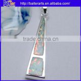 Hot !!! Created White Fire Opal Inlay Pendant 925 Sterling Silver Semi Precious Stone Pendants Wholesale