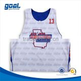 Sublimated profesional new design boys reversible custom lacrosse pinny tops