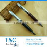 TC-L014b spray silver metal ball pen with no stitching leather