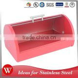 Stainless Steel Bread Bin 0.4MM muffin box With Plastic Lid