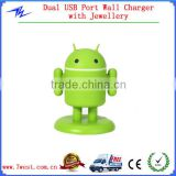 Quick Charging Android Robot Universal USB Travel Wall Charger with Light up Eyes&Movable Arms for iphone