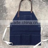 heavy duty denim barista apron with cotton webbing waist strap wholese