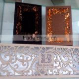 Laser cut design classical hollow texture cardboard magnetic closure chocolate box supplier (ZH20150506-1)