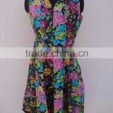 Ladeis Fancy v-neck 100% cotton long maxi dress /Floral printed cotton beautiful long dress