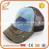 Fashionable applique embroidery hats washed cotton mesh baseball cap                                                                                                         Supplier's Choice