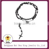 Fashion Catholicism Stainless Steel Necklace Black Plated Religious Catholic Jesus Cross Rosary Necklace For Muslim