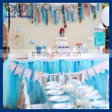 SK005C New arrival gorgeous ruffled bridal ruffled wedding baby blue soft net tulle table skirting