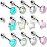 new arrival crystal free sample tongue rings unique tongue rings