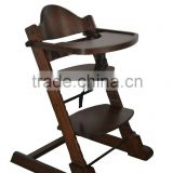 Solid beech Wood Baby high chair in walnut